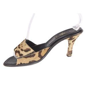 Fendi Shoes - Vtg Fendi Brown Animal Print Hair on Hide Slides
